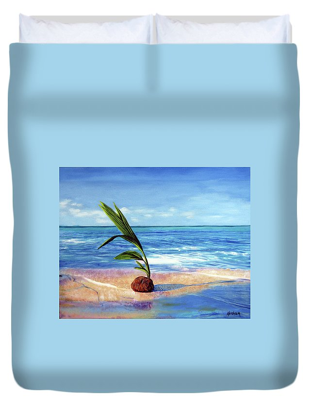 Ocean Duvet Cover featuring the painting Coconut on beach by Jose Manuel Abraham