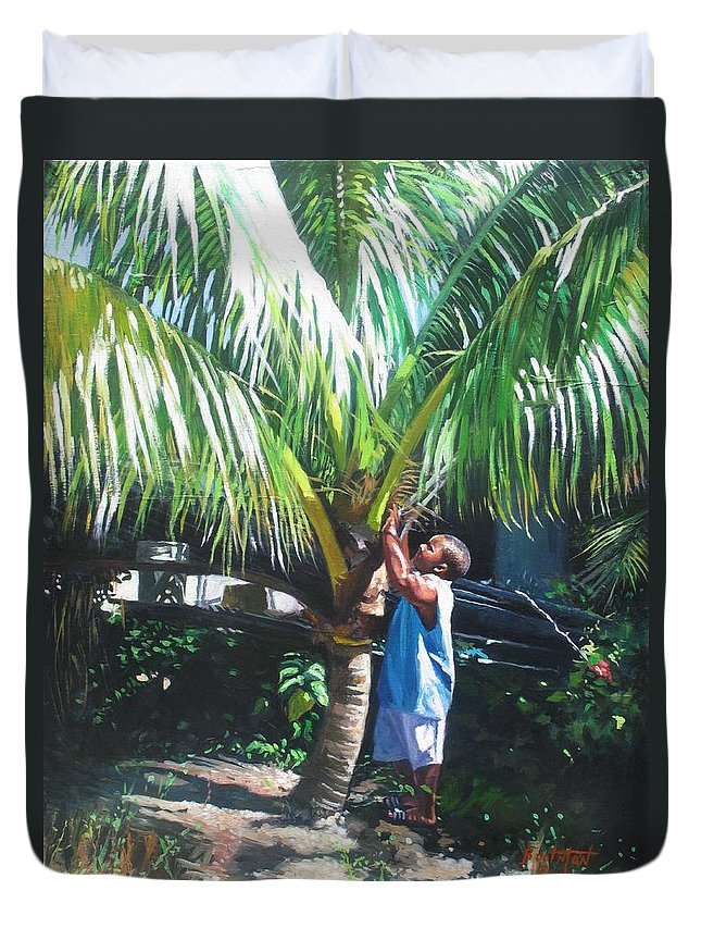 Tree Duvet Cover featuring the painting Coconut Shade by Colin Bootman