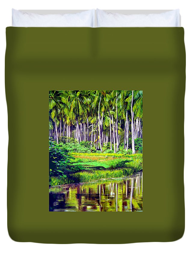 Coconuts Water River Green Art Tropical Duvet Cover featuring the painting Coconuts Trees by Jose Manuel Abraham