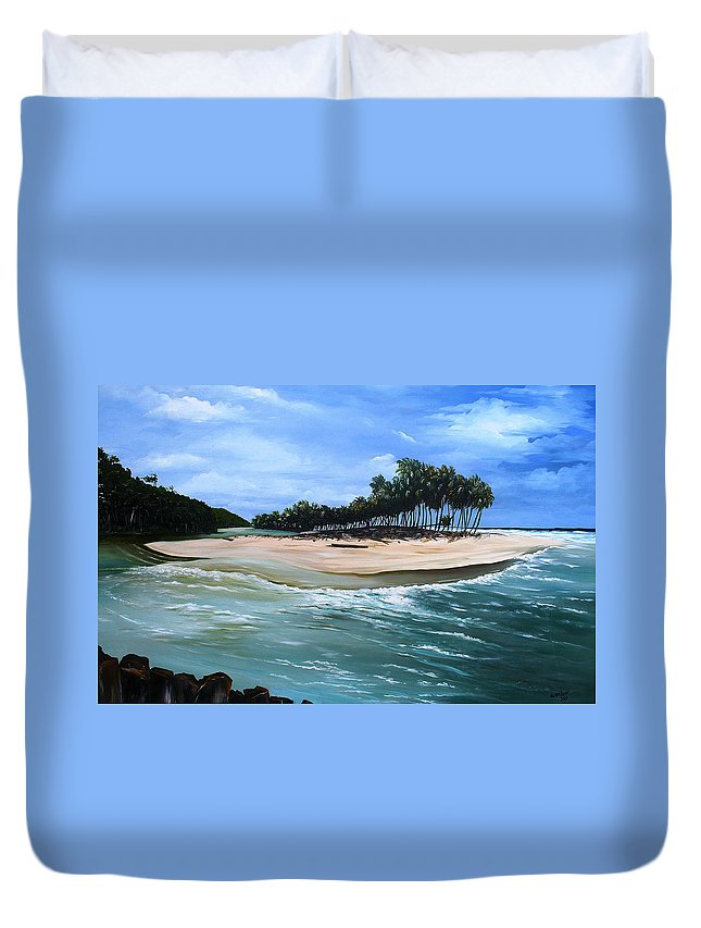 Ocean Paintings Sea Scape Paintings  Beach Paintings Palm Trees Paintings Water Paintings River Paintings  Caribbean Paintings  Tropical Paintings Trinidad And Tobago Paintings Beach Paintings Duvet Cover featuring the painting Cocos Bay Trinidad by Karin Dawn Kelshall- Best