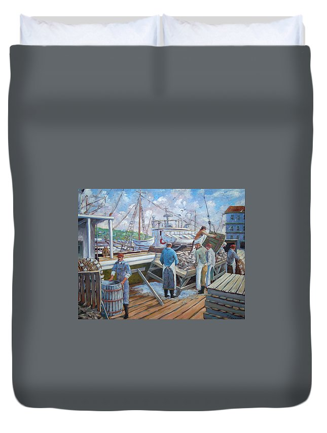 Cod Duvet Cover featuring the painting Cod Memories by Richard T Pranke