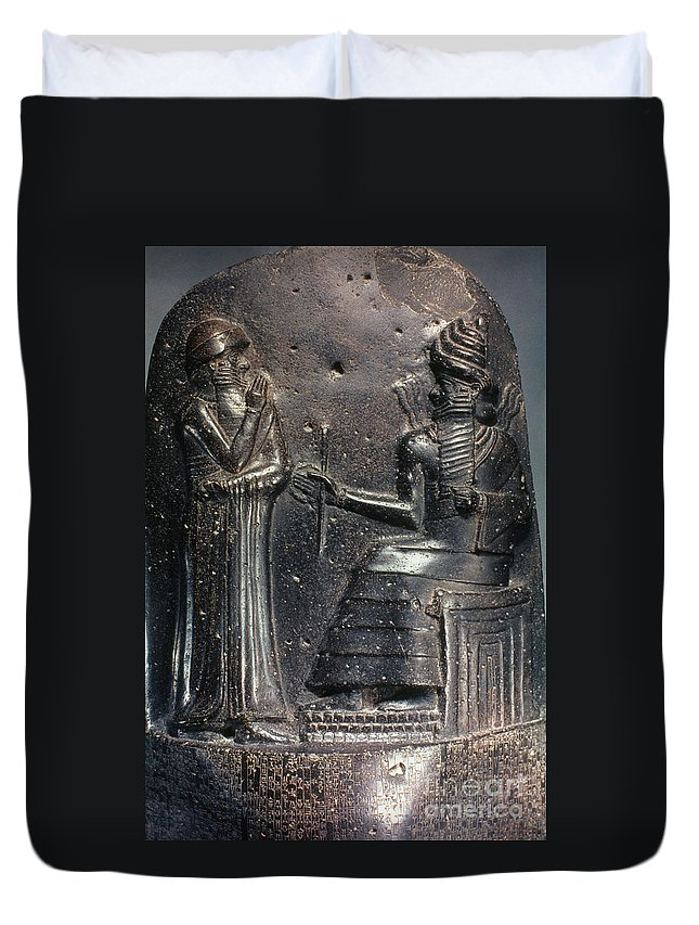 18th Century B.c. Duvet Cover featuring the photograph Code Of Hammurabi (detail) by Granger