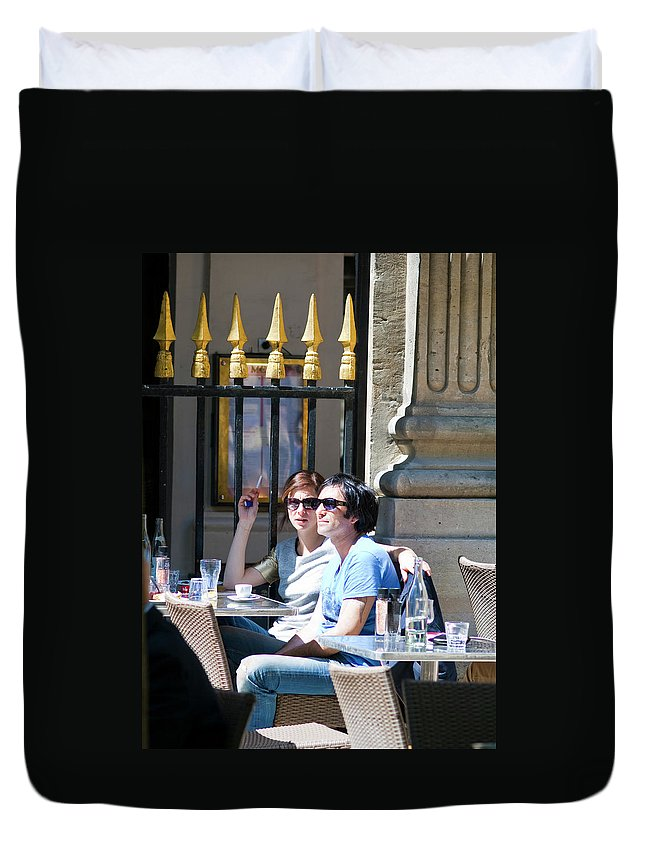 Cafe Duvet Cover featuring the photograph Coffee And Cigarettes by Sam Gish