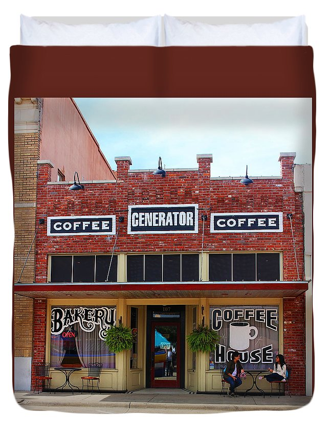 Coffee House Duvet Cover featuring the photograph Coffee Anyone by Christine Townsend