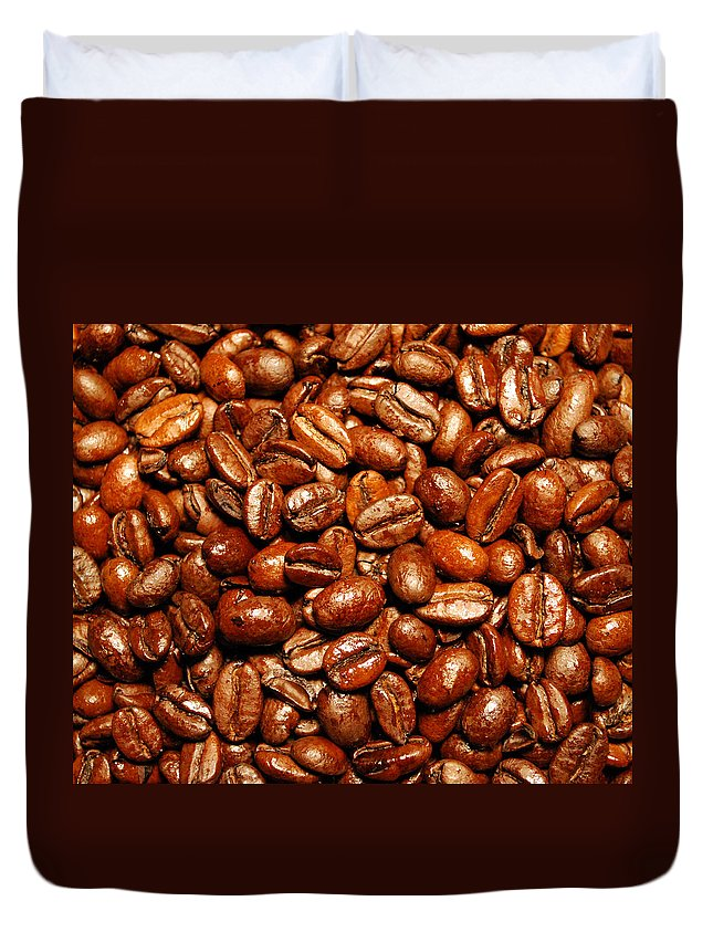 Coffee Duvet Cover featuring the photograph Coffee Beans by Nancy Mueller