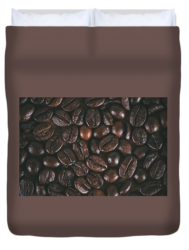 Background Duvet Cover featuring the photograph Coffee Beans Texture by Jose Luis Agudo