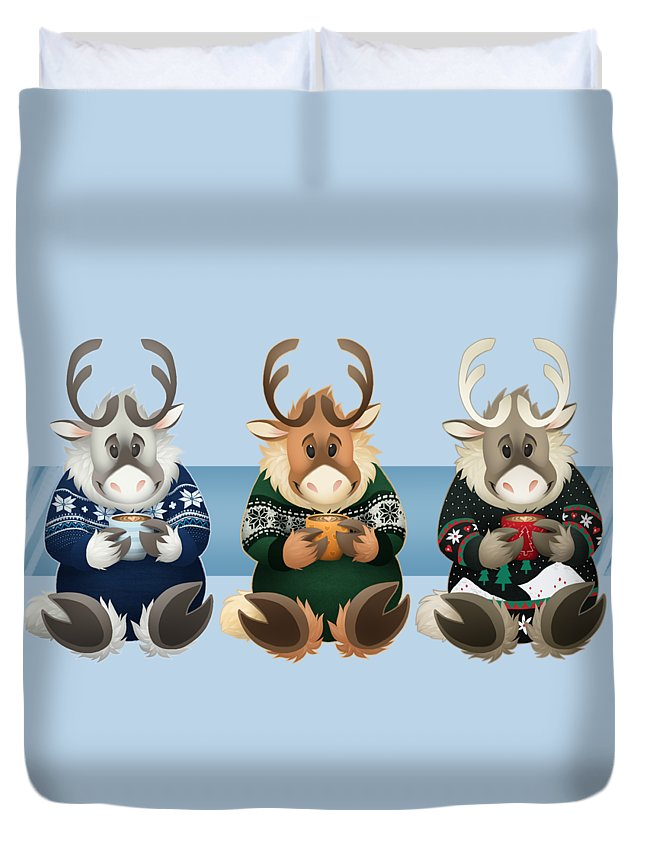 Caribou Duvet Cover featuring the digital art Coffee Bou - The Gang's All Here by Clockwork Caribou