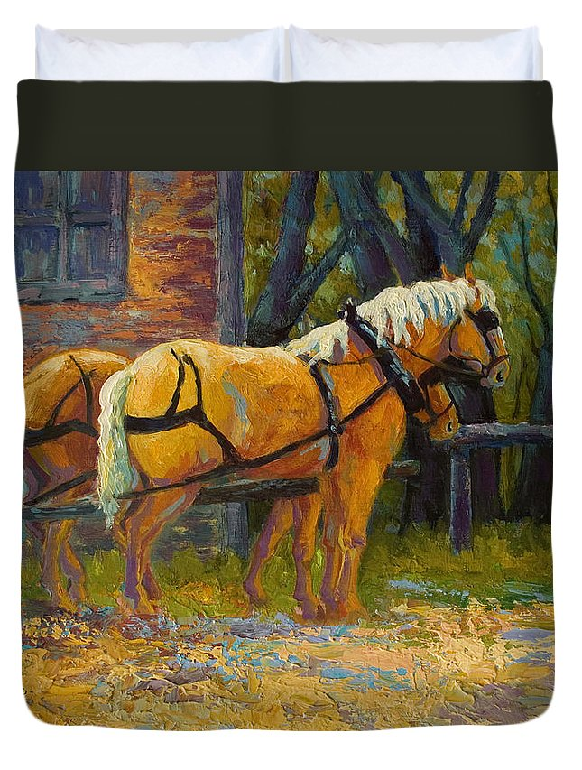 Horses Duvet Cover featuring the painting Coffee Break - Draft Horse Team by Marion Rose