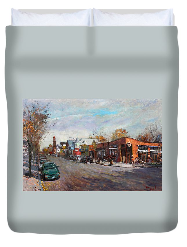 Spot Coffee Duvet Cover featuring the painting Coffee Break At Spot by Ylli Haruni