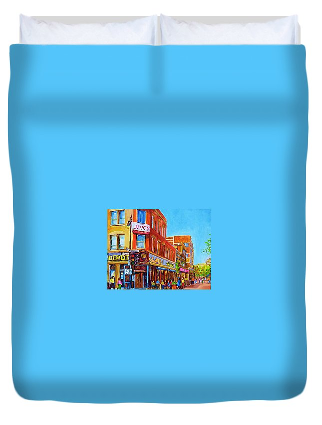 Cityscape Duvet Cover featuring the painting Coffee Depot Cafe And Terrace by Carole Spandau