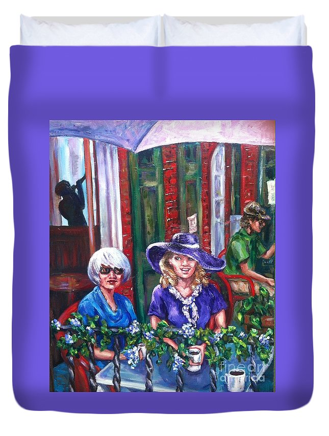 Friends Duvet Cover featuring the painting Coffee In Pirates' Alley by Beverly Boulet