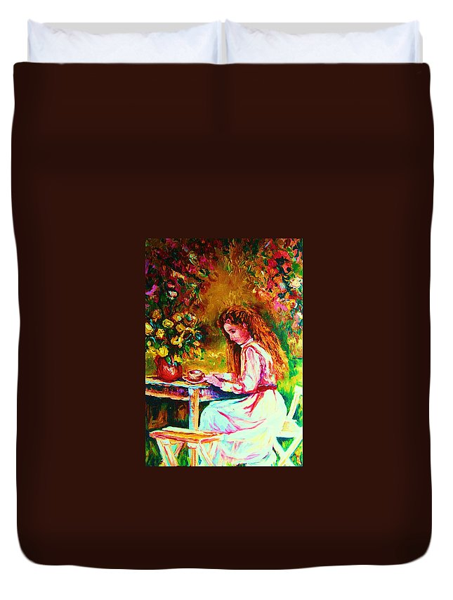 Impressionism Duvet Cover featuring the painting Coffee In The Garden by Carole Spandau
