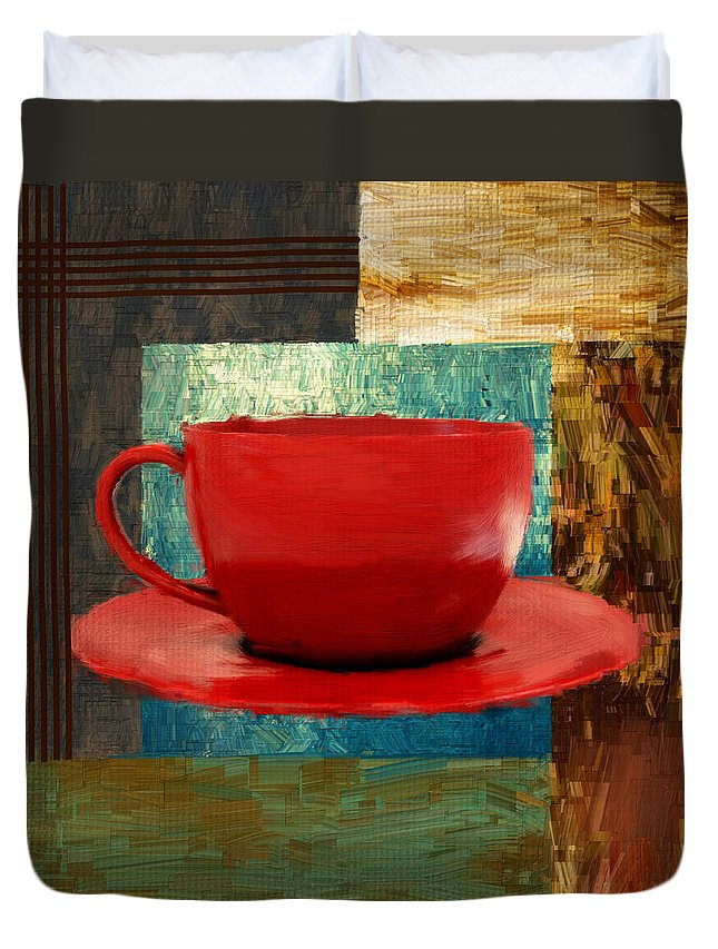 Coffee Duvet Cover featuring the digital art Coffee Lover by Lourry Legarde