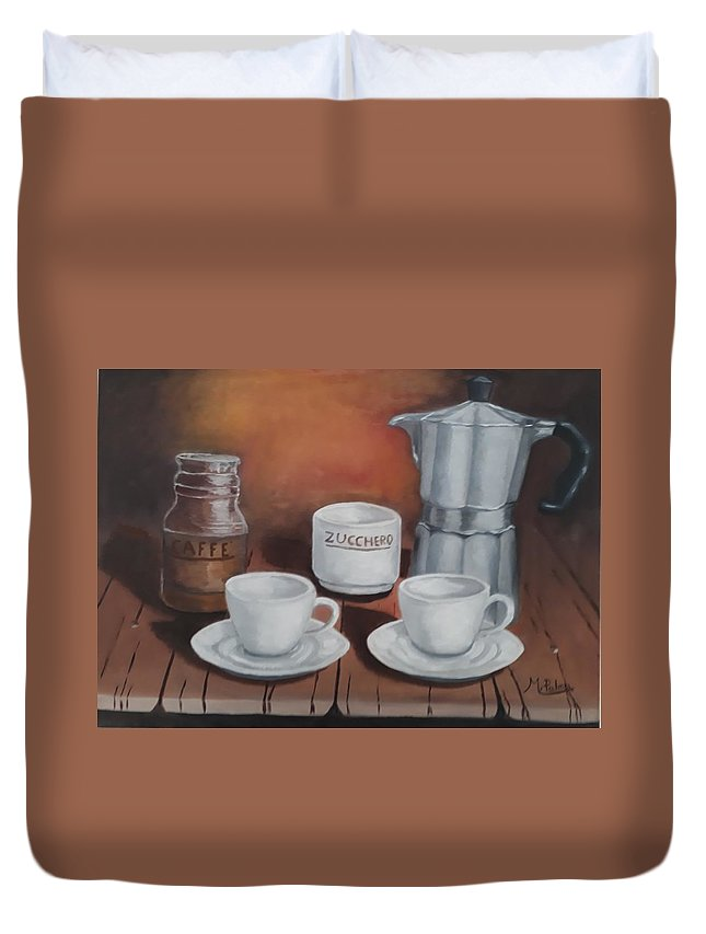 Coffee Set Duvet Cover featuring the painting Coffee Set by Mario Palma