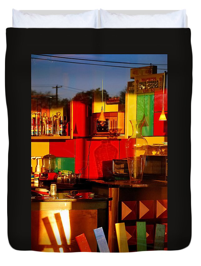 Skip Hunt Duvet Cover featuring the photograph Coffee Shop by Skip Hunt