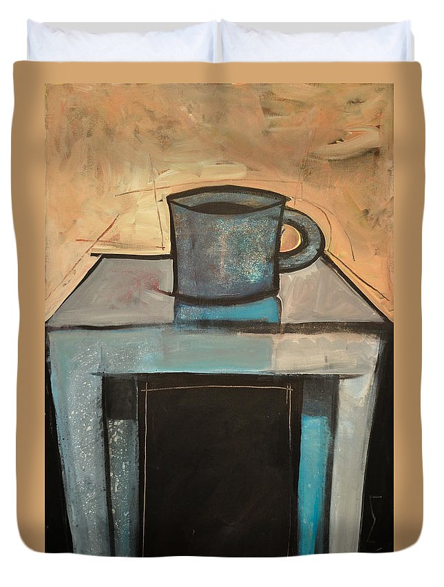 Coffee Duvet Cover featuring the painting Coffee Table by Tim Nyberg