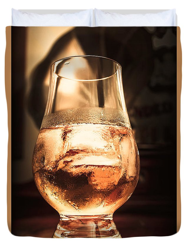 Glass Duvet Cover featuring the photograph Cognac Glass On Bar Counter by Jorgo Photography - Wall Art Gallery