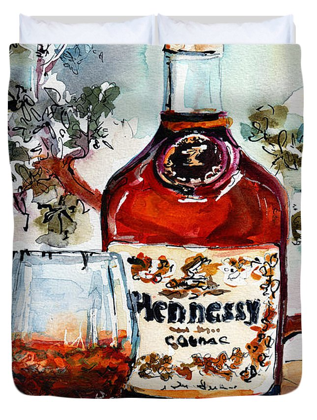 Cognac Duvet Cover featuring the painting Cognac Hennessy Bottle And Glass Still Life by Ginette Callaway