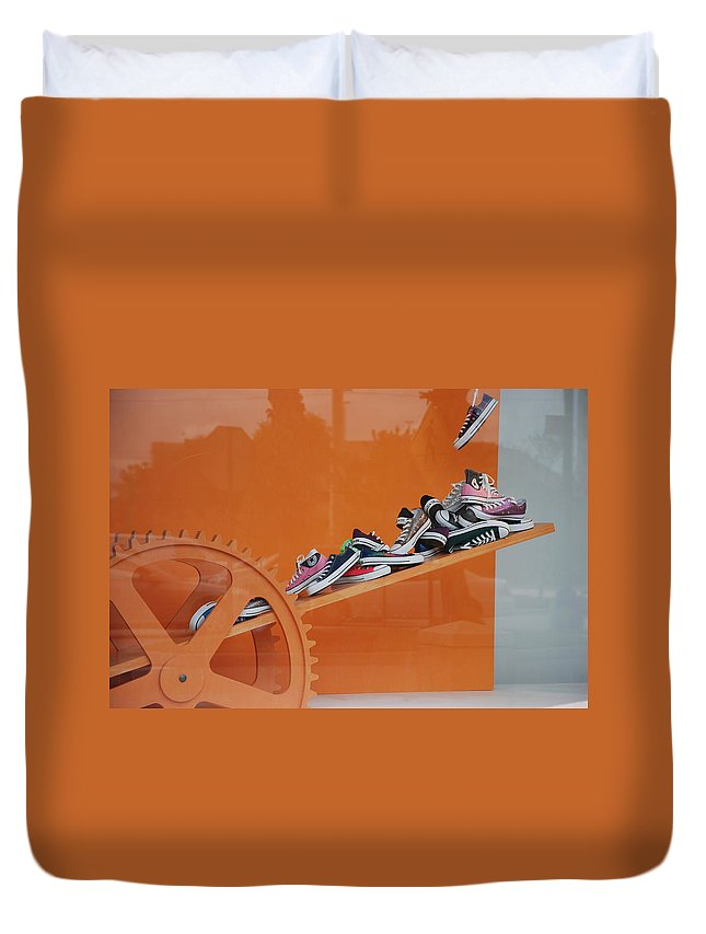 Orange Duvet Cover featuring the photograph Cogs N Converse by Rob Hans