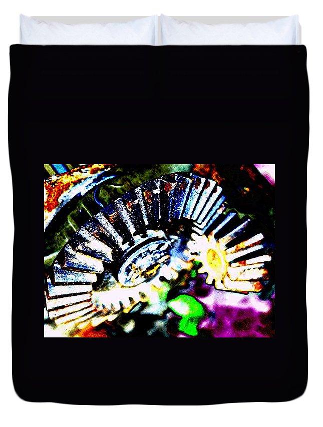 Cogs Duvet Cover featuring the digital art Cogs by Tim Allen
