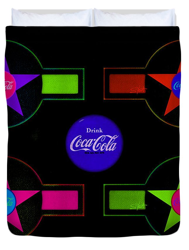 Label Duvet Cover featuring the painting Cola-candy by Charles Stuart