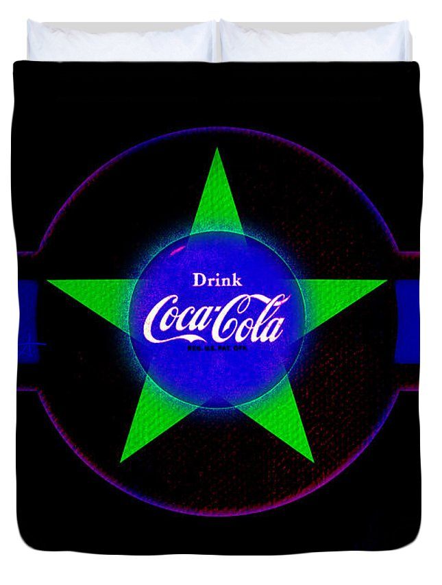 Label Duvet Cover featuring the painting Cola N Lime II by Charles Stuart