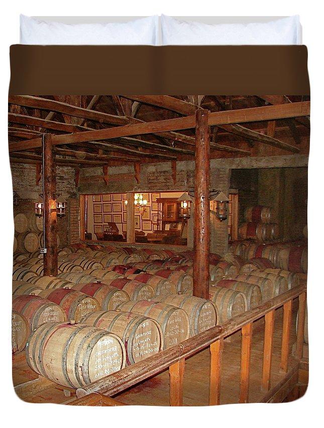 Colchagua Duvet Cover featuring the photograph Colchagua Valley Wine Barrels by Brett Winn