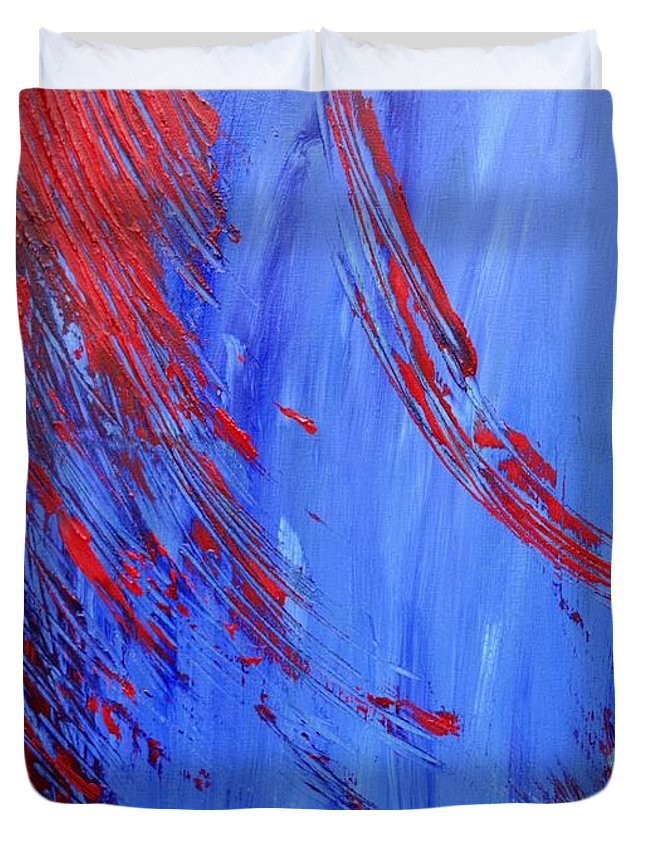 Abstract Duvet Cover featuring the painting Cold Blooded by Christina McNee-Geiger
