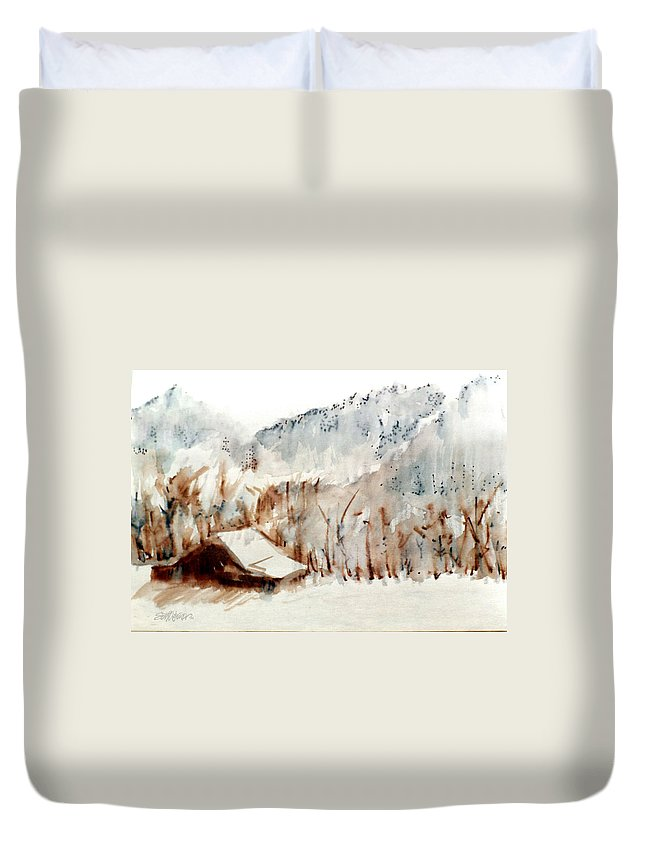 Cold Cove Duvet Cover featuring the mixed media Cold Cove by Seth Weaver