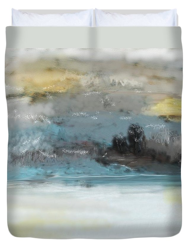 Landscape Duvet Cover featuring the digital art Cold Day Lakeside Abstract Landscape by David Lane