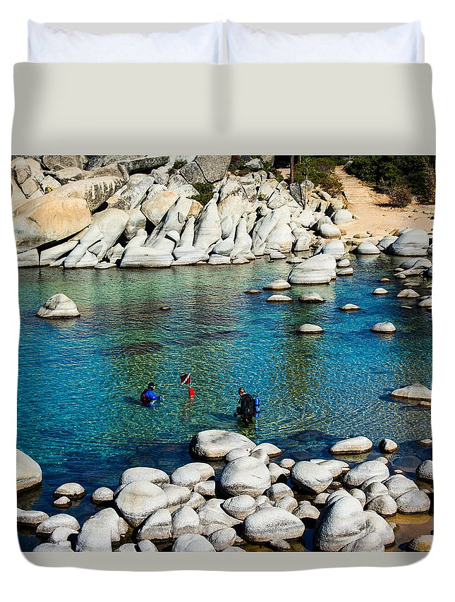 Dive Duvet Cover featuring the photograph Cold Dive by Jamie Brewer