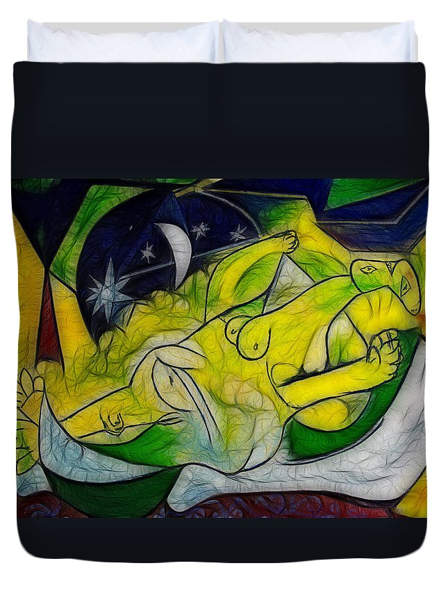 Moon Duvet Cover featuring the painting Cold Feet At Midnight by Joachim G Pinkawa