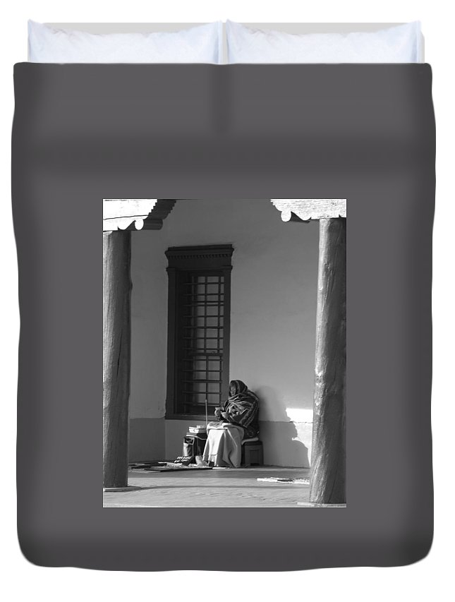 Southwestern Duvet Cover featuring the photograph Cold Native American Woman by Rob Hans