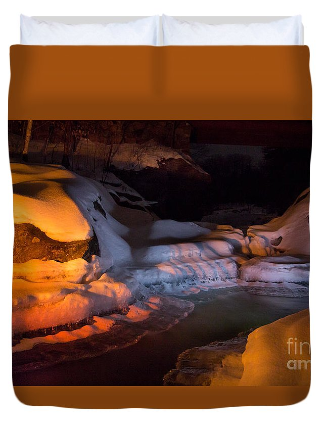 River Duvet Cover featuring the photograph Cold River Candle by Andrew Quinn