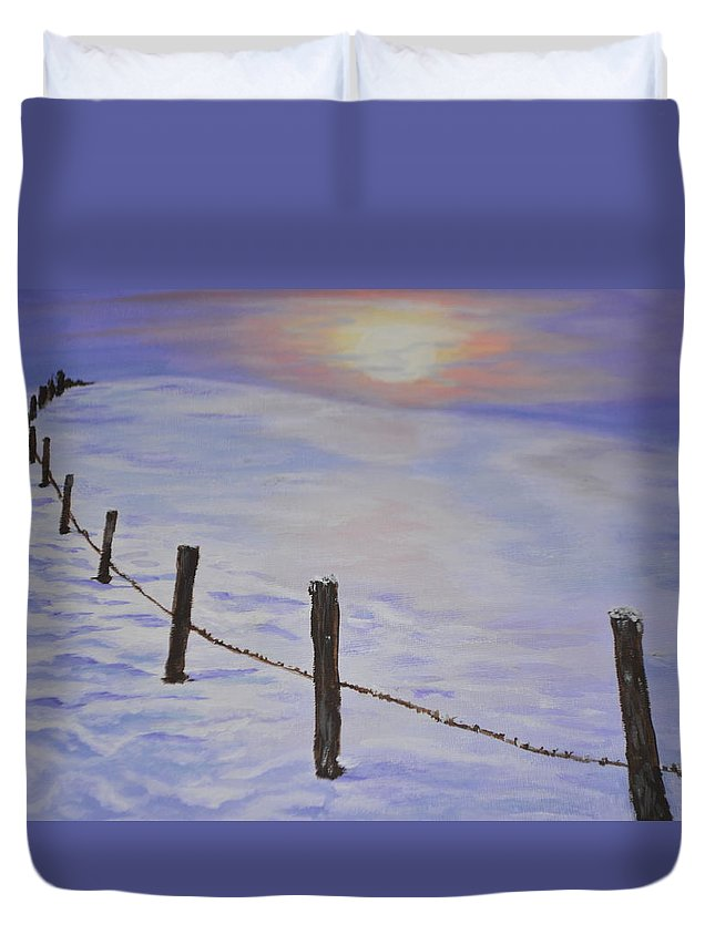 Winter Duvet Cover featuring the painting Cold Sience by Irina Astley
