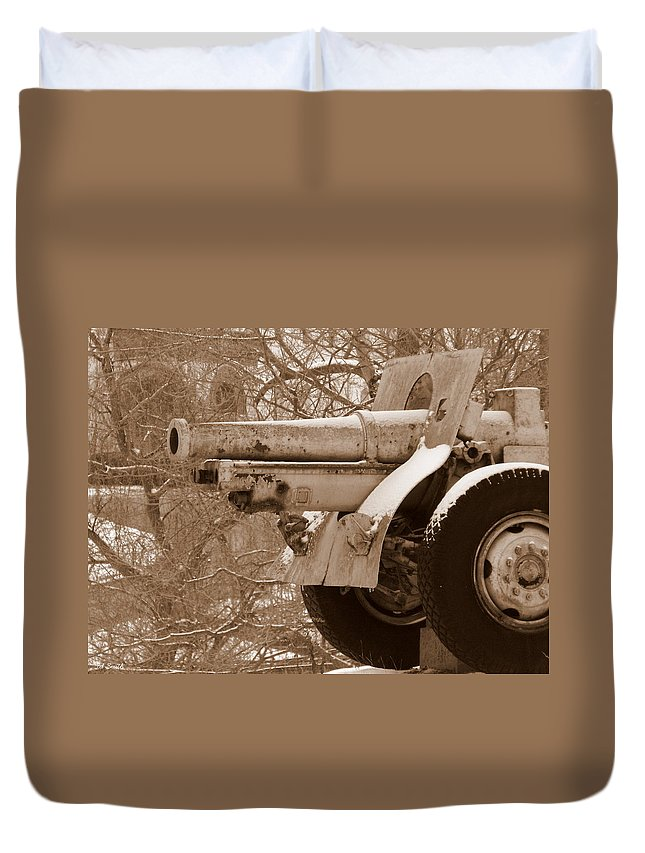 Cold Steel Duvet Cover featuring the photograph Cold Steel Indiana Soldiers Sailors Home by Ed Smith