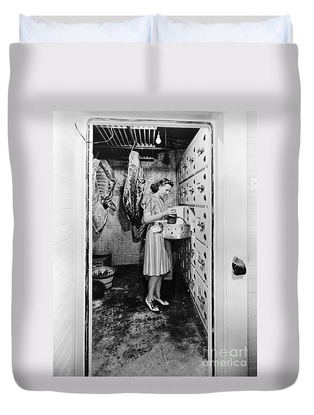 1940 Duvet Cover featuring the photograph Cold Storage Room, C1940 by Granger