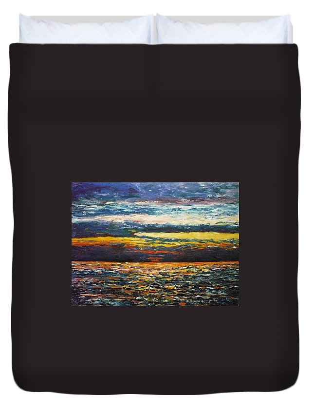 Landscape Duvet Cover featuring the painting Cold Sunset by Ericka Herazo