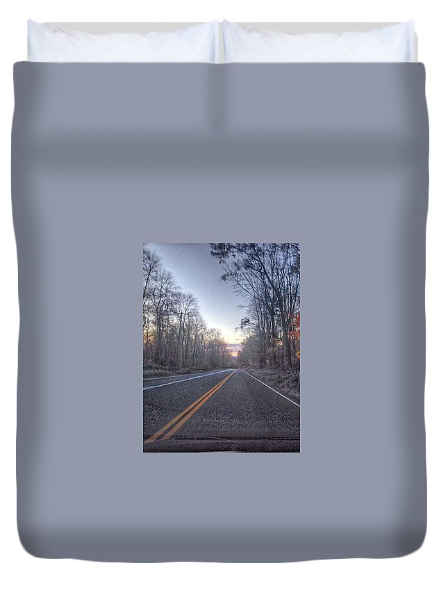 Open Road Duvet Cover featuring the photograph Cold Wanderer by Sarah Campbell