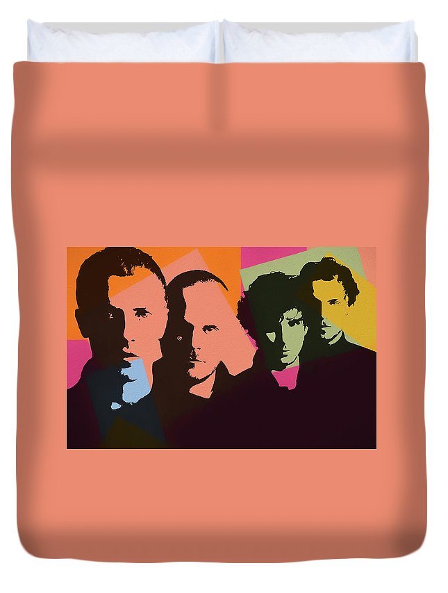 Coldplay Pop Art Duvet Cover featuring the mixed media Coldplay Pop Art by Dan Sproul