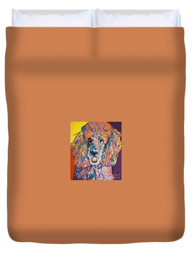 Standard Poodle Duvet Cover featuring the painting Cole by Pat Saunders-White