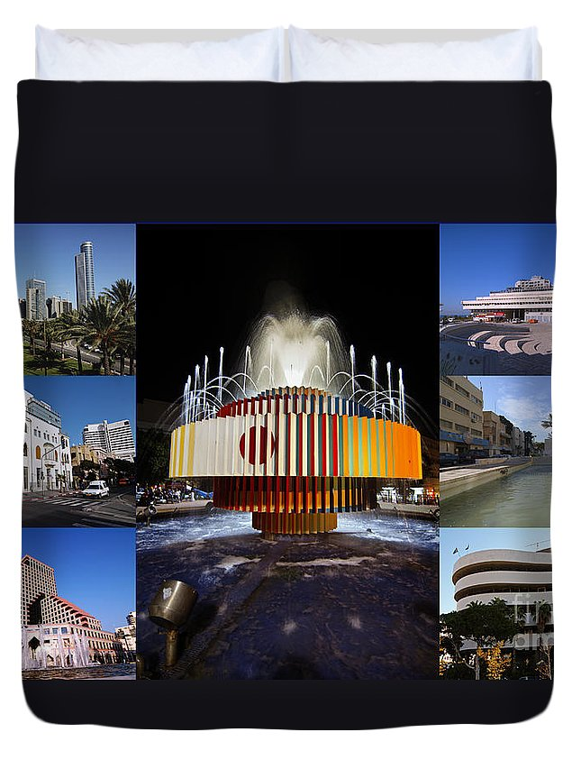 Collage Duvet Cover featuring the photograph Collage Of Tel Aviv Israel by Ilan Rosen