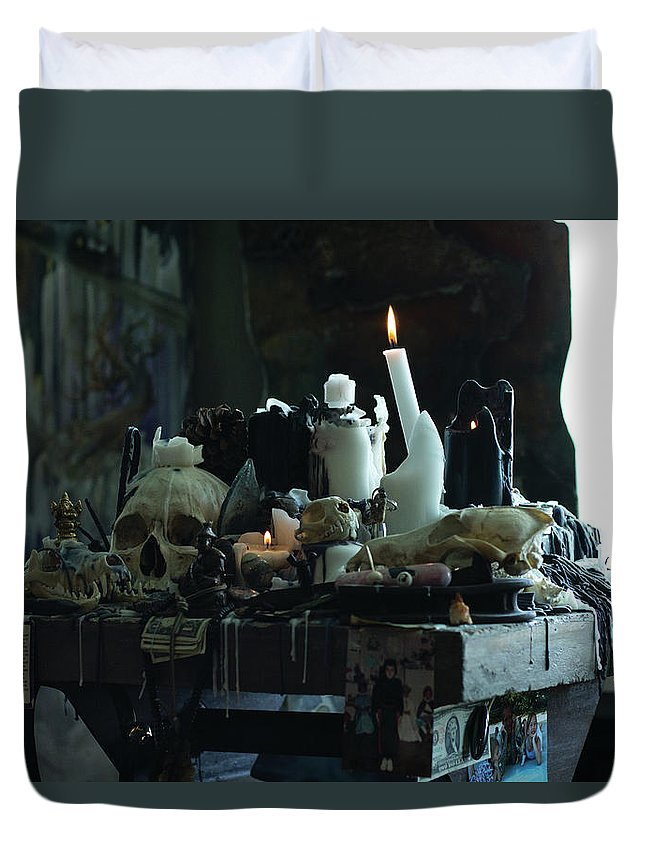 Skull Duvet Cover featuring the photograph Collection Podium by Preston Maurer