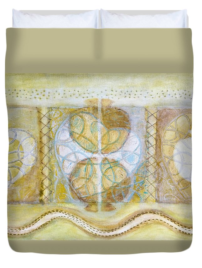 Symbolism Duvet Cover featuring the painting Collective Unconscious Three Equals One Equals Enlightenment by Kerryn Madsen- Pietsch