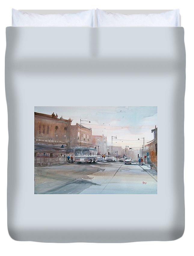 Ryan Radke Duvet Cover featuring the painting College Avenue - Appleton by Ryan Radke
