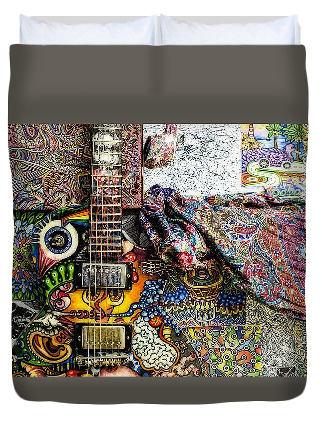 Urban Art Duvet Cover featuring the photograph Collorfull Music by Normand Laporte