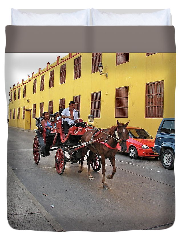 Columbia Duvet Cover featuring the photograph Colombia Carriage by Brett Winn