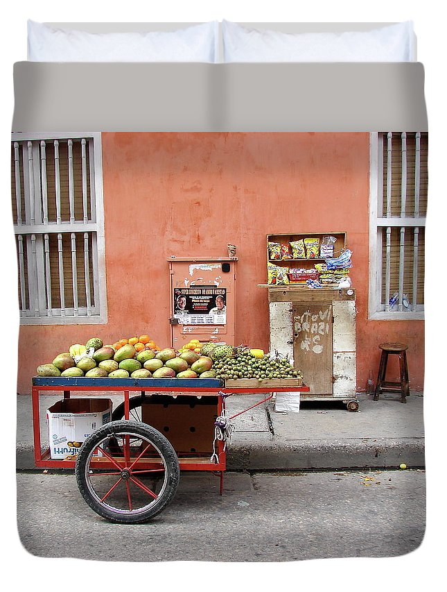 Colombia Duvet Cover featuring the photograph Colombia Fruit Cart by Brett Winn