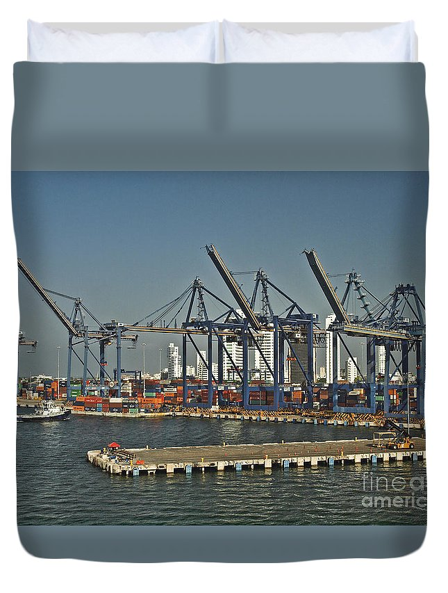 Boat Duvet Cover featuring the photograph Colombia023 by Howard Stapleton