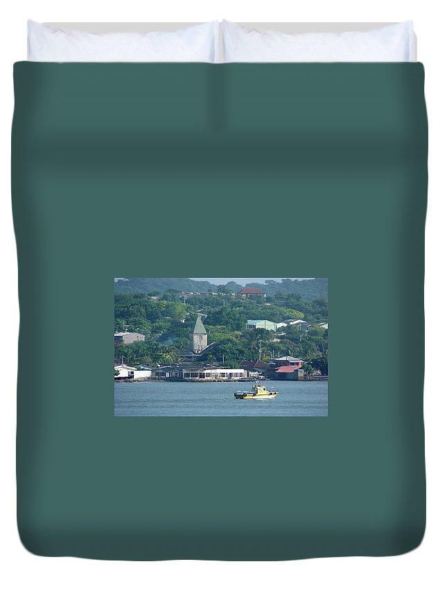 Church Duvet Cover featuring the photograph Colombian Seaside Church by Brett Winn